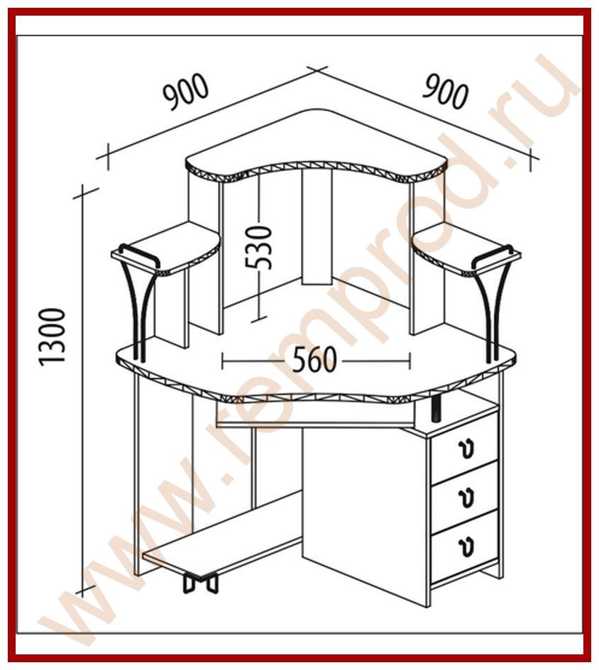 Угловой компьютерный стол своими руками с размерами